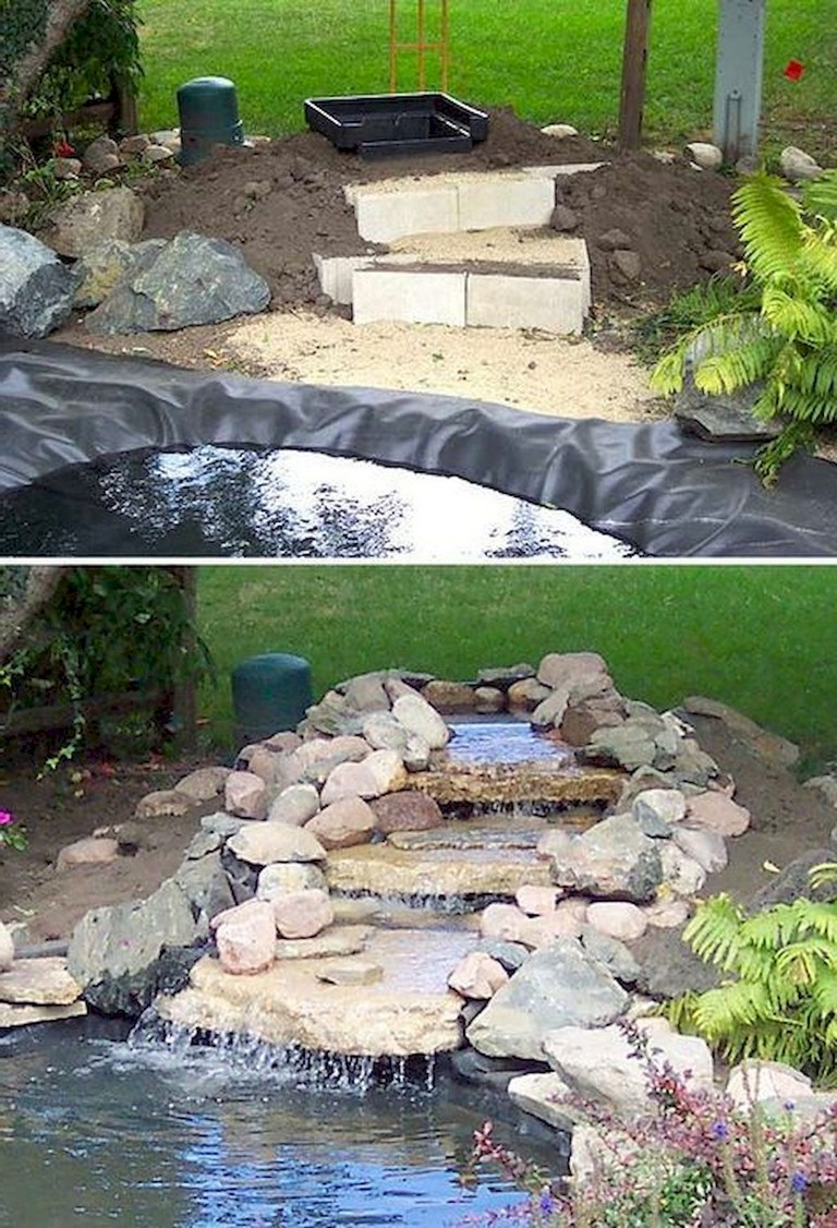 65+ Lovely Backyard Waterfall And Pond Landscaping Ideas