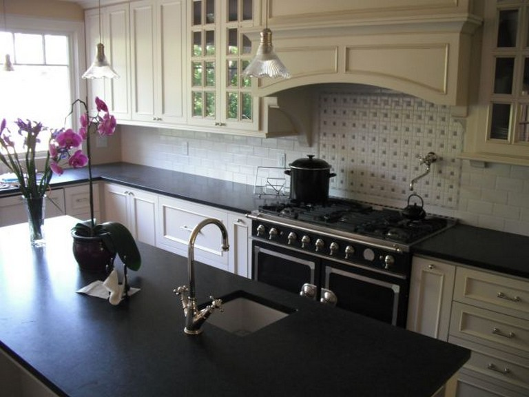 25 Awesome Honed Black Granite Countertop Ideas For ... on Black Granite Countertops Kitchen  id=76639
